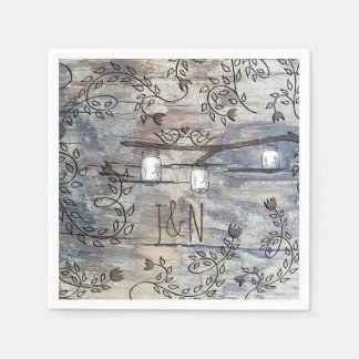 Mason Jars & Love Birds Rustic Branch Wedding Disposable Napkin