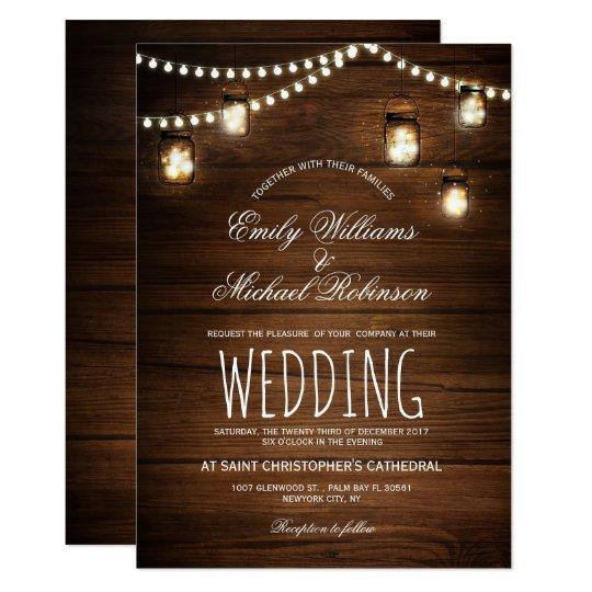 Mason Jars String Lights Elegant Rustic Wedding Card