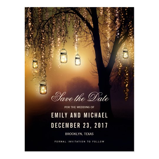 Mason Jars String Lights Elegant save the date Postcard