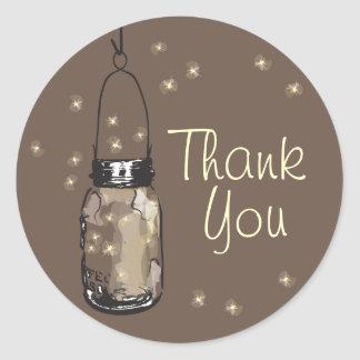 Mason Jars with Fireflies Thank You Round Sticker