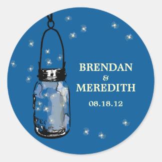 Mason Jars with fireflies Wedding Round Sticker