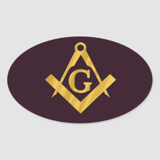 Mason Masonic Product on Brown Oval Sticker