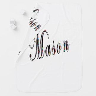 Mason, Name, Logo, White Snugly Baby Blanket. Baby Blanket