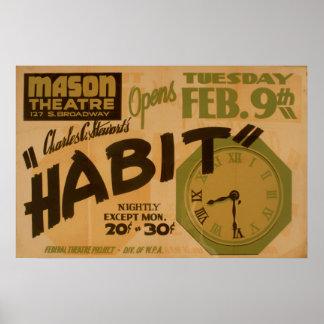 Mason Theatre Habit Vintage WPA Poster