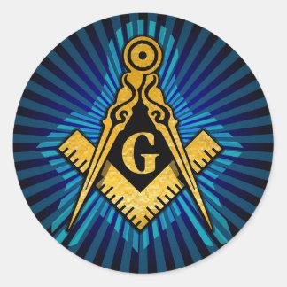 Masonic Compass and Square Round Sticker