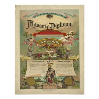 Masonic Diploma Freemason Freemasonry 1891 Personalized Invitations