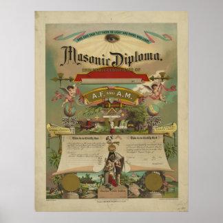 Masonic Diploma Freemason Freemasonry 1891 Poster