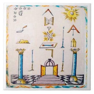 Masonic Dutch Blue Tile 18th Century