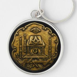 Masonic Emblem Silver-Colored Round Keychain