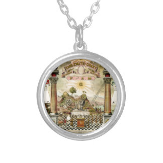 Masonic Emblematic Chart Silver Plated Necklace