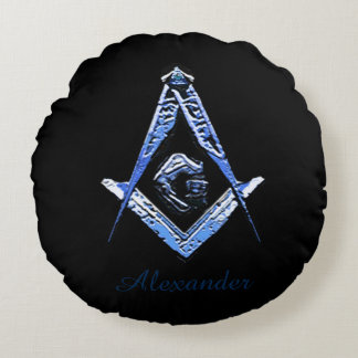 Masonic Minds (Blue) Round Pillow