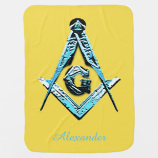 Masonic Minds (Bright Blue) Swaddle Blanket