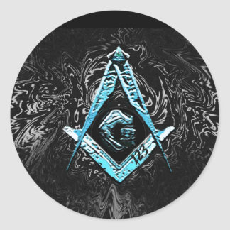 Masonic Minds (BrightBlueSwish) Classic Round Sticker