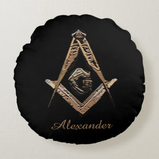 Masonic Minds (Golden) Round Pillow