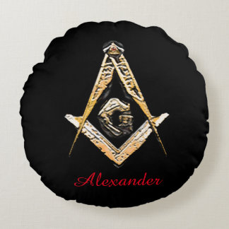 Masonic Minds (yellowish) Round Pillow
