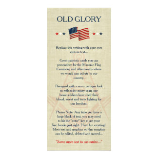 Masonic Old Glory Flag Cards, Freemason Patriotic Personalized Rack Card