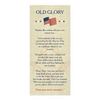 Masonic Old Glory Flag Cards, Freemason Patriotic Rack Card