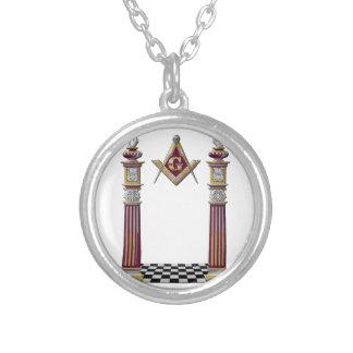 Masonic Pillars Silver Plated Necklace