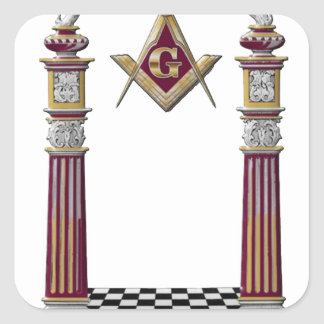 Masonic Pillars Square Sticker