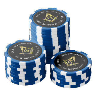 Masonic Poker Chips | Gold Square and Compass