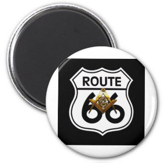 Masonic Route 66 Shield 2 Inch Round Magnet
