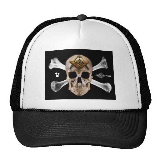 Masonic Skull & Bones Compass Square Mesh Hat
