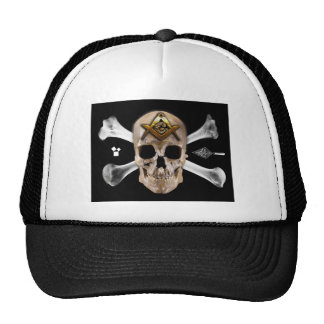 Masonic Skull & Bones Compass Square Trucker Hat
