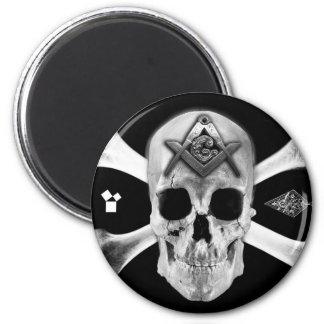 Masonic Skull & Bones, Square and Compass, Trowel, 2 Inch Round Magnet