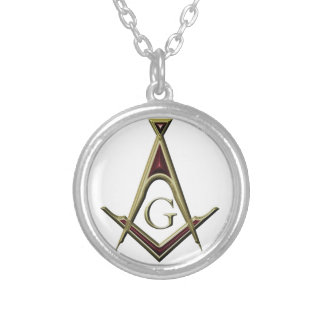 Masonic Square & Compass Silver Plated Necklace