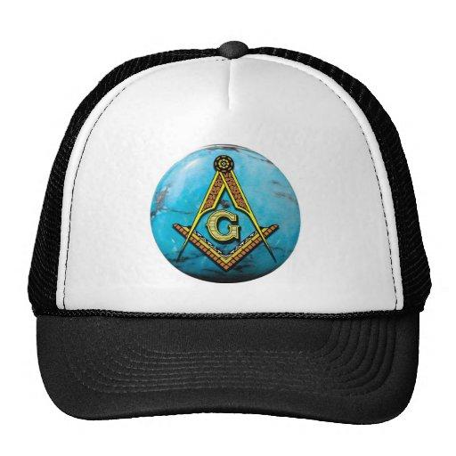 Masonic Square & Compass Turquoise Trucker Hats