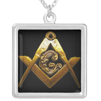 Masonic SQUARE on the SQUARE Silver Plated Necklace