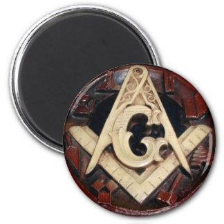 Masonic Squre & Compasses Buton 2 Inch Round Magnet
