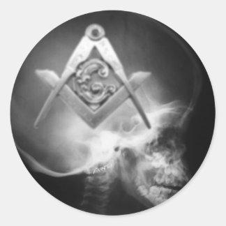 Masonic X-Ray Alien Skull Round Sticker