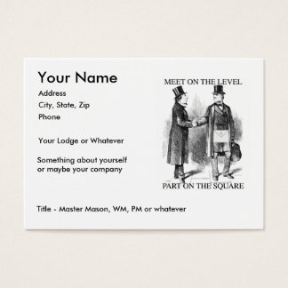 Masons Meeting, Large size Business Card