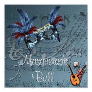 Masque bleu à l'invitation bleue de boule de carton d'invitation  13,33 cm