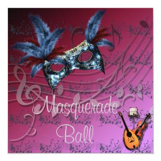 Masque bleu à l'invitation de boule de mascarade carton d'invitation  13,33 cm