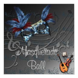 Masque bleu à l'invitation noire de boule de carton d'invitation  13,33 cm