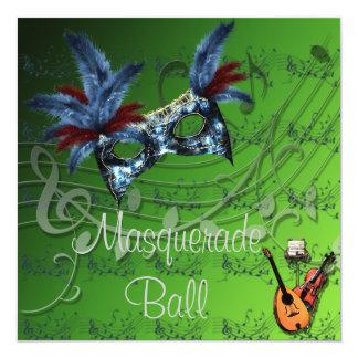 Masque bleu à l'invitation verte de boule de carton d'invitation  13,33 cm