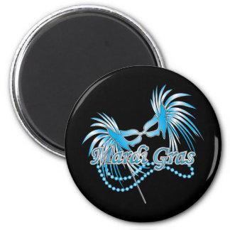 Masque bleu de mardi gras magnet rond 8 cm