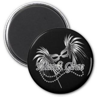 Masque de mardi gras magnet rond 8 cm