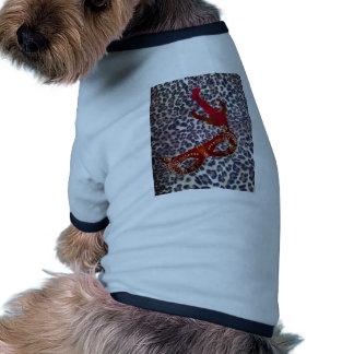 masque de rouge d'empreinte de léopard vêtements pour chien