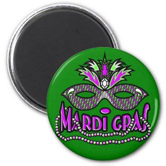 Masque et perles de mardi gras de KRW Magnet Rond 8 Cm