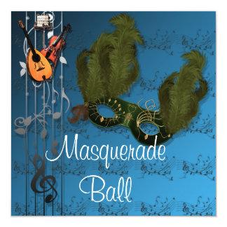Masque vert à l'invitation bleue de boule de carton d'invitation  13,33 cm