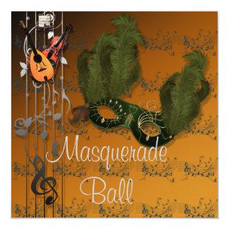 Masque vert à l'invitation orange de boule de carton d'invitation  13,33 cm