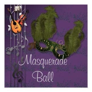 Masque vert à l'invitation pourpre de boule de carton d'invitation  13,33 cm