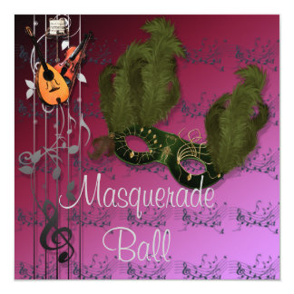 Masque vert à l'invitation rose de boule de carton d'invitation  13,33 cm
