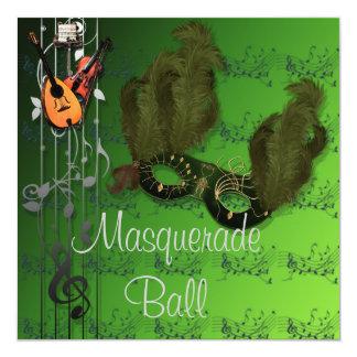 Masque vert à l'invitation verte de boule de carton d'invitation  13,33 cm
