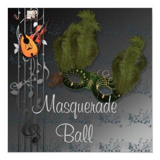 Masque vert sur la boule de mascarade grise noire carton d'invitation  13,33 cm
