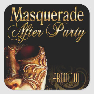 Masquerade After Party Prom 2011 Square Sticker
