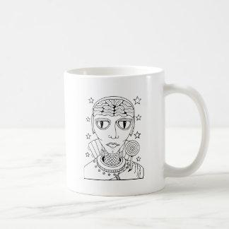 Masquerade Alien Lollipop Line Art Design Coffee Mug